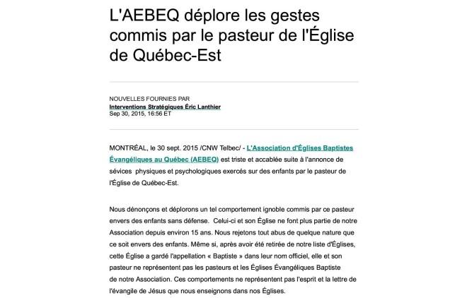 L'AEBEQ déplore les gestes commis par le pasteur de l'Église de Québec-Est1