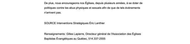L'AEBEQ déplore les gestes commis par le pasteur de l'Église de Québec-Est2