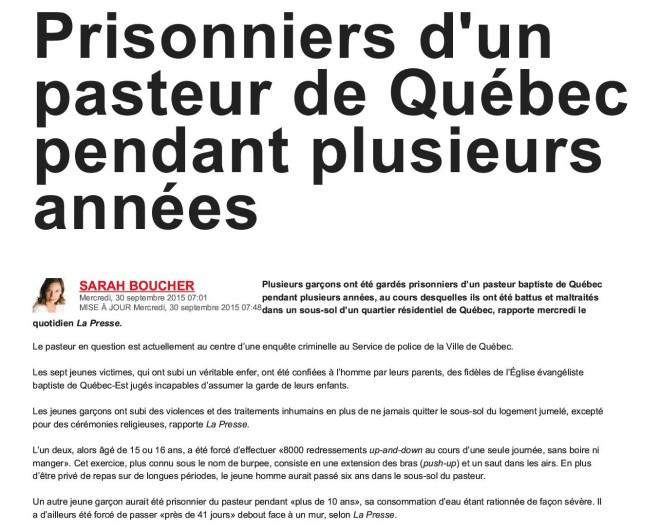Prisonniers d'un pasteur de Québec pendant plusieurs années _ JDQ1